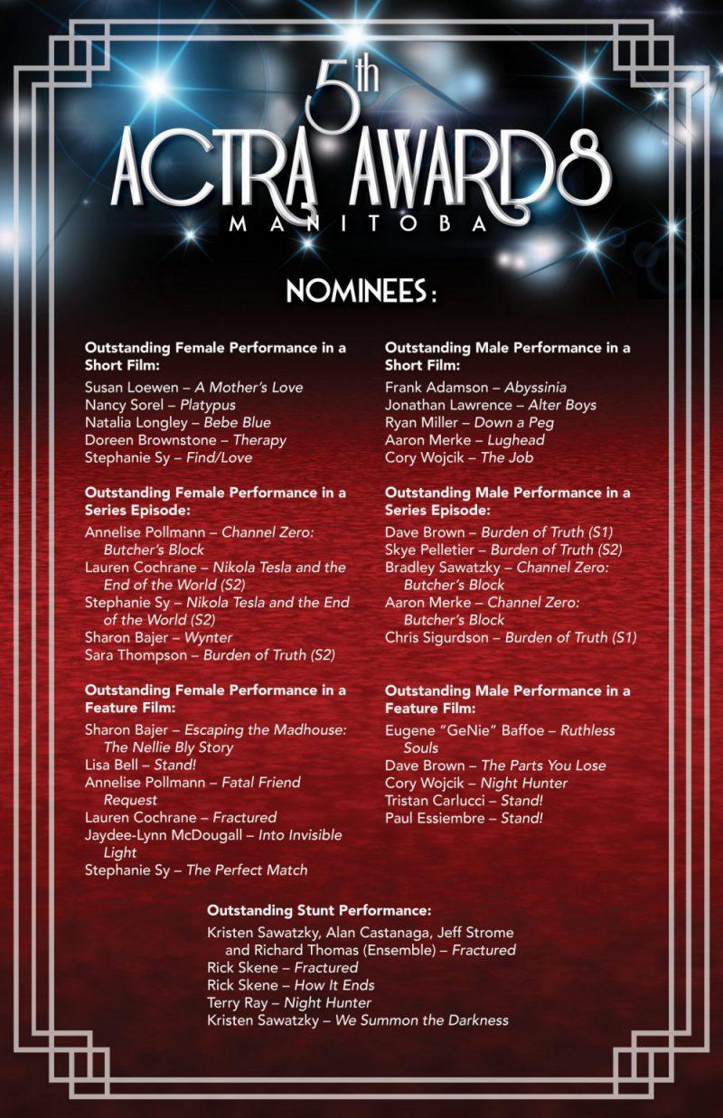 5th ACTRA Manitoba Award nominations